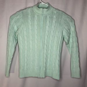Denim and Co Zip Front Cardigan Sweater Mint Green